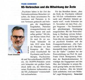 Meldung im Deutschen Ärzteblatt 02 / 2016